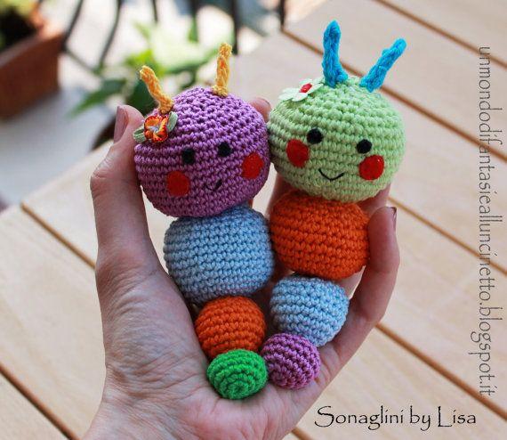 Sonaglini per bebè all'uncinetto Amigurumi di FantasiediLisa