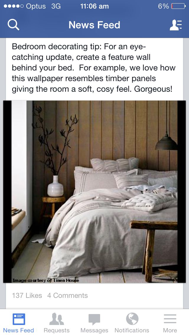 Feature wall behind master bed like wallpaper look wood for Wallpaper for wall behind bed