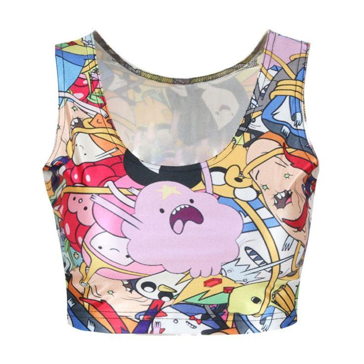 2017 New Arrival Women Popular Tops Fashion Sexy Cartoon T-Shits Punk Style 3D Print Cute Vests Club Wear Slim Tanks  #Affiliate