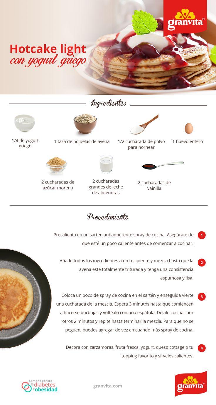 Todos merecemos algo que nos haga felices por las mañanas. ¿Por qué no unos ricos hotcakes de yogurt griego? ¿Los has probado?