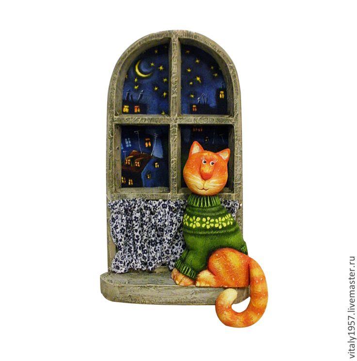 """Пано """" Старое окно """". Кот . Дерево. Ручная роспись - скульптура,дерево"""