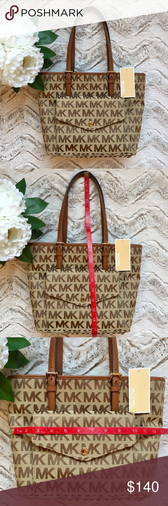 MICHAEL KORS PURSE JET SET TOTE BROWN MK LOGO MICHAEL KORS' glamorous tote keeps jet-setting essentials easily organized and within reach with a pocket-lined design that includes a center pocket for your tech items, plus an outer snap wallet pocket that's perfect for stowing your passport and ID.  See pictures for measurements.  Inside is 1 center zipped pocket, 1 cell phone pocket, 3 open pockets, 1 zip pocket. MICHAEL Michael Kors Bags Totes