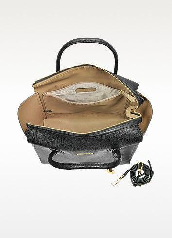 Mercer Large Black Bonded Pebble Leather Satchel - Michael Kors