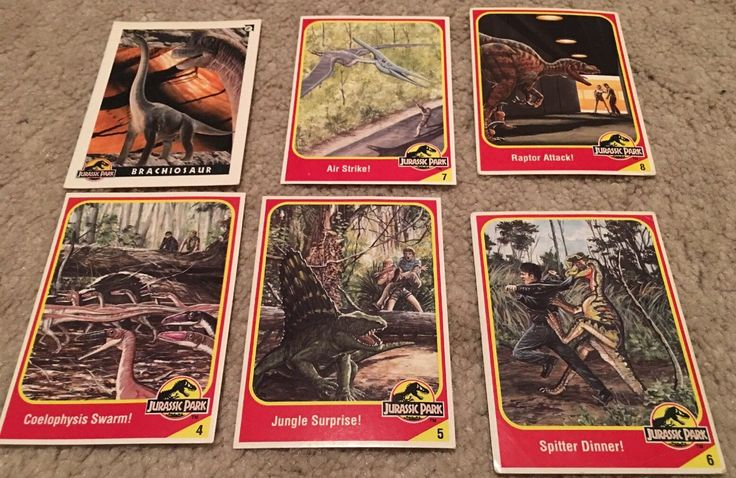 Lot of 6 1993 Kenner Toys Jurassic Park Collector Cards