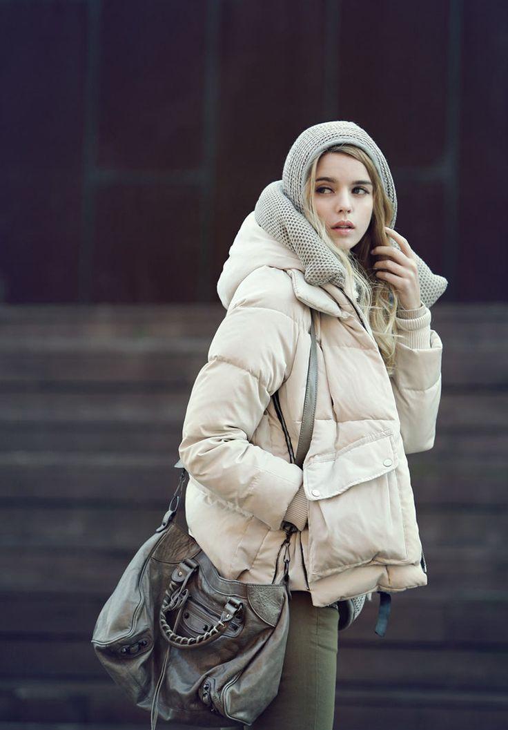 2014 зима новый европейский этап звезды с густой плюшевой капюшоном короткий пуховик искренней теплотой - Taobao