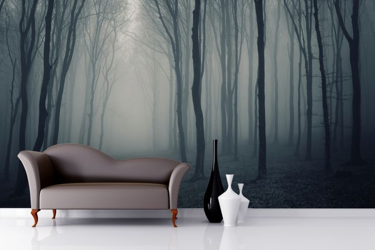 Grey Mist Forest Mural Wallpaper from Murals Wallpaper in the UK
