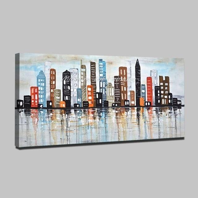 New York Skyline Abstract Wall Art 40x80cm Mt160768 In 2021 Abstract Canvas Wall Art New York Painting Abstract Wall Art