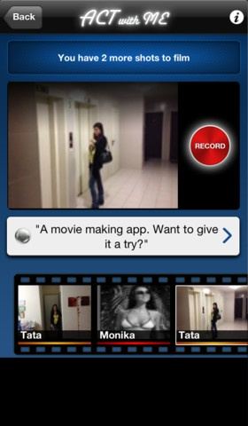 """Act With Me Social Video Studio ($0.00) * Choose Your Script - Select from a library of ready to shoot scripts, remake an """"Act With Me"""" movie or write a new script. * Cast The Movie * The Studio-Movie making couldn't be any easier. As each actor shoots their scenes, they are automatically delivered to you, where you can trim them down, adjust their volume, and select transitions When your movie is done, export it to YouTube & the """"Act With Me"""" Gallery, or save it to your photo album"""