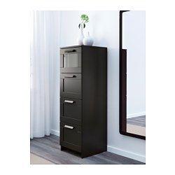IKEA - BRIMNES, Cassettiera con 4 cassetti, nero/vetro smerigliato, , I cassetti, facili da aprire e chiudere, sono provvisti di fermacassetti.