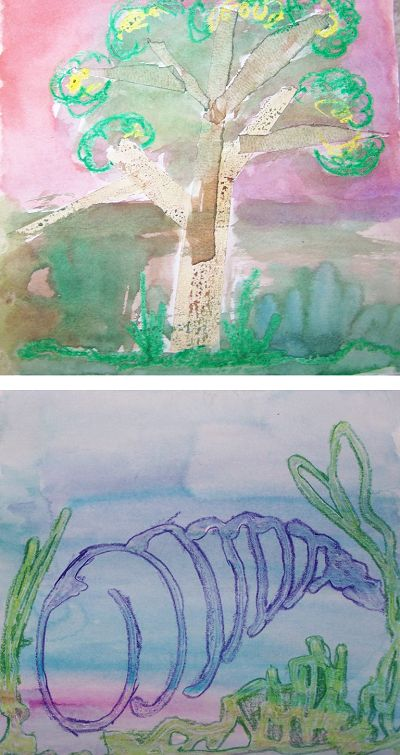 Kim Waltmire shares her Elementary School lesson plan on using crayon, glue, and watercolor for resist art, along with a writing activity.