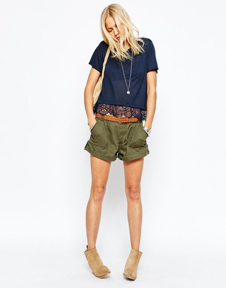 Image 1 of Abercrombie & Fitch Roll Up Military Shorts