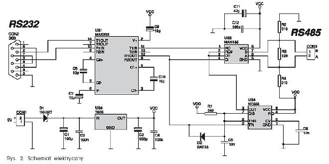 RS-232 to RS-485 Converter with Auto Flow Control via 555