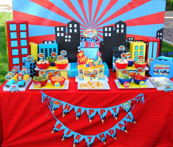 SUPERHERO Birthday Party - City Scape Background - Super Hero party- Superheroes Birthday-Super Hero Party Printables-Comic-INSTANT Download on Etsy, $10.00