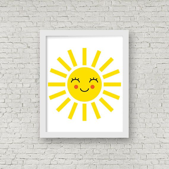 Happy Sun Print Illustrated Print Kids Room by ColourscapeStudios