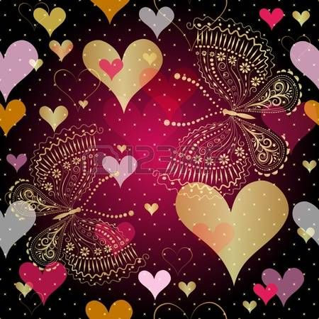 Seamless vivid valentine pattern with gold decorative hearts and butterflies photo