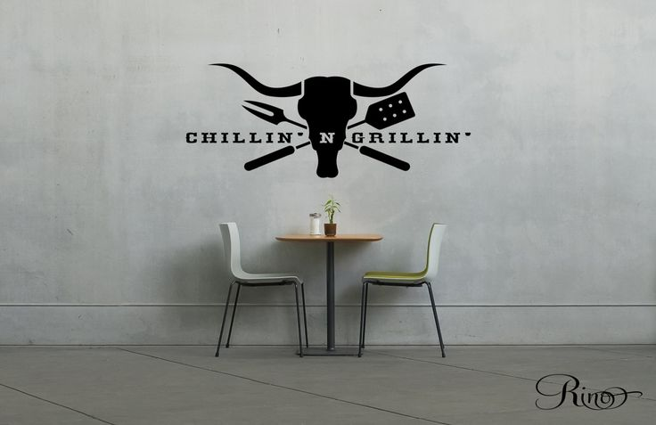 BBQ Grills Decal - chillin' & Grillin' Wall art Vinyl sticker Cow Skull longhorn country kitchen steakhouse home decor by RINOhomedecor on Etsy