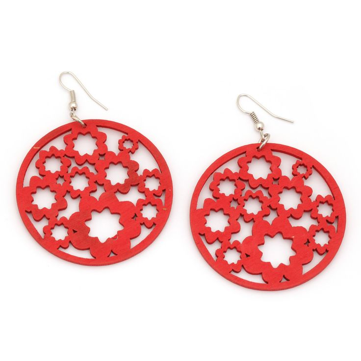 Red flower cut out design round wooden drop earrings