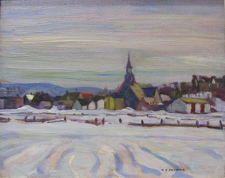 A.Y. Jackson - Saint Pierre Montmagny Quebec 8.5 x 10.5 Oil on panel (1942)