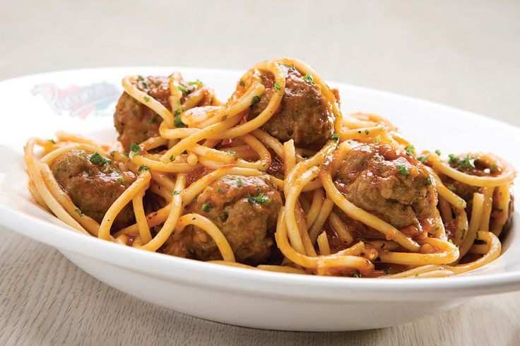 Spaghetti and Meatballs. Spaghetti and meatballs in a tomato-based sauce with basil, oregano and garlic | Panarottis http://www.panarottis.co.za/ourmenu/pastas