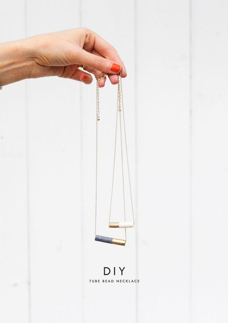 DIY Rohr Perlenkette |  Marmor |  Gold |  Handwerk |  selbstgemachte Geschenke