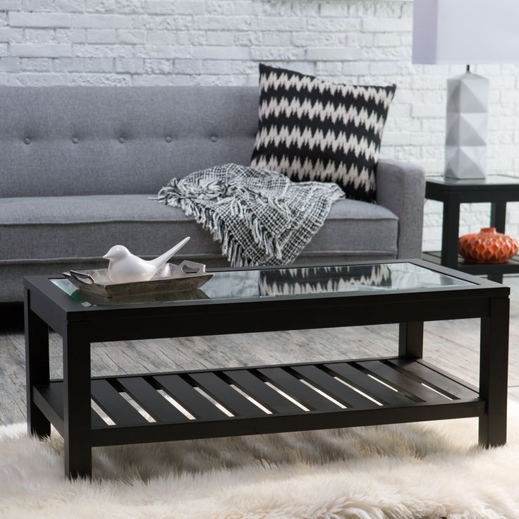 Sutton Glass Top Coffee Table with Slat Bottom - YH-1999