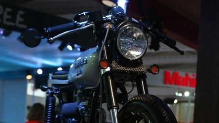JCMoto Scrambler and Cafe Racer concept at Mahindra stall Auto Expo 2014