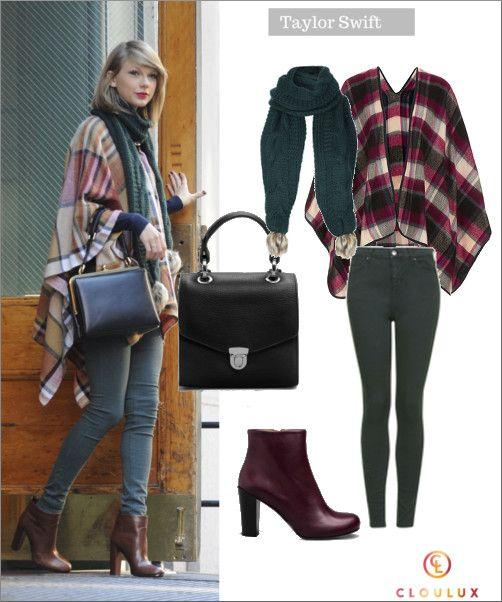 Taylor Swift mit süßem Poncho und grüner Hose in NYC
