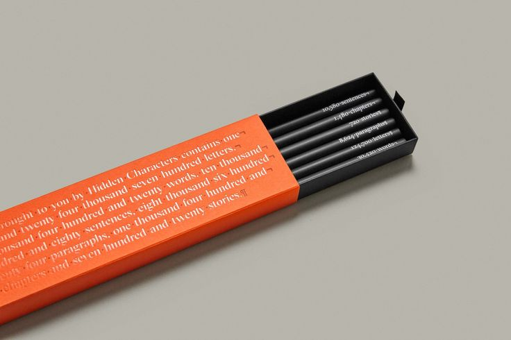 Brand identity, branded pencils and box for Sydney-based PR firm Hidden Characters by RE, Australia