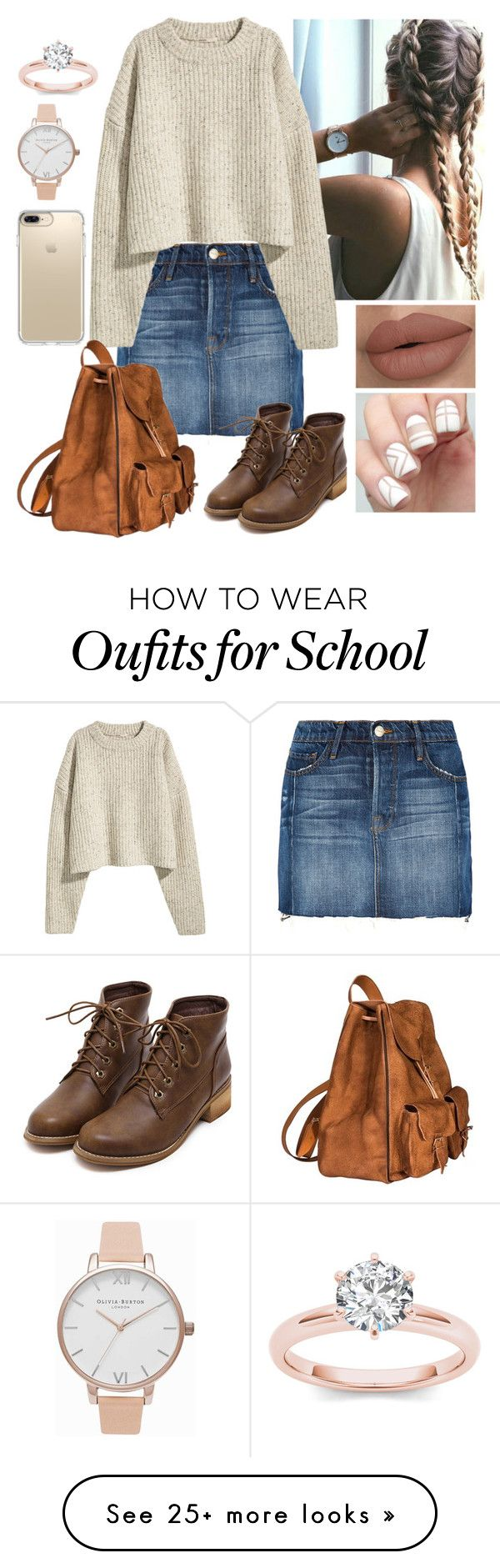 """""""school outfit 4"""" by mollieswale on Polyvore featuring Frame, Yves Saint Laurent, Speck and Olivia Burton"""