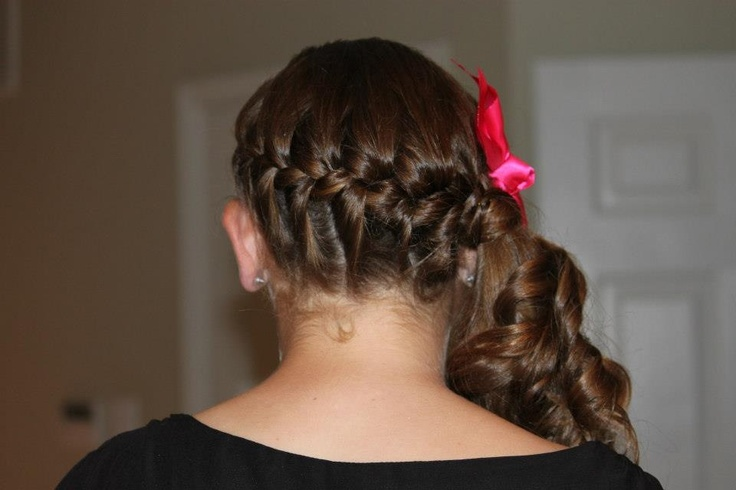 Astonishing French Braid Into Curled Side Ponytail With Hot Pink Bow Hair Short Hairstyles Gunalazisus
