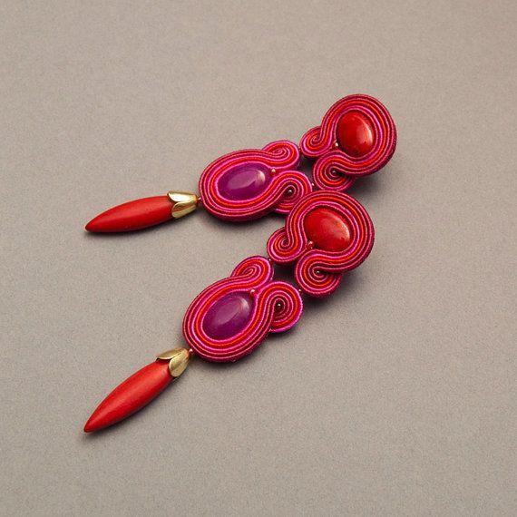 Fuchsia Ohrringe Pink Anweisung Ohrringe-Magenta Soutache