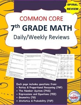 Need a SPIRAL REVIEW  of the 7th Grade Common Core standards? This resource contains 20 WEEKS of review specifically written for the common core math standards for 7th grade. The review sheets are organized into 5 boxes. Each box contains problems from the 5 domains of the 7th grade CCSS standards.This resource can be used for WARM UPS, HOMEWORK and math CENTERS.