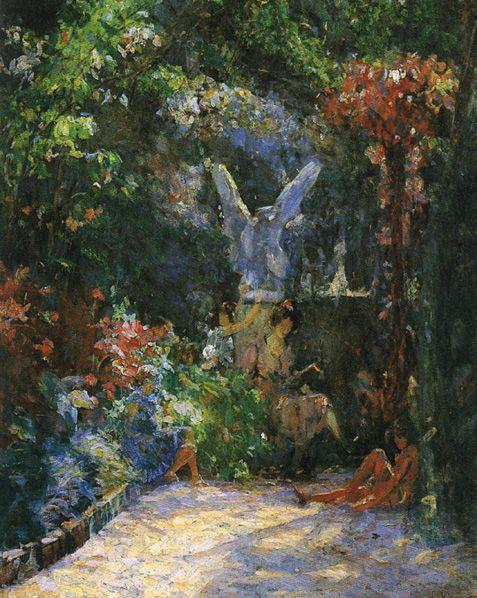 """""""Lição no Meu Jardim"""".  (1928). (by Eliseu Visconti)."""