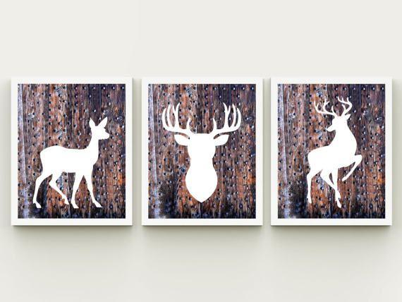 Deer printable wall art set nursery by HappyPrintCreations on Etsy