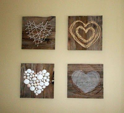 Pallet Heart Art ~ I just think this is so cute!.. but maybe only on one board.. and with smaller hearts.. and with hooks..