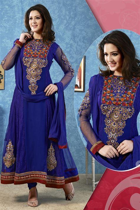 Blue Net, Georgette Designer Suit