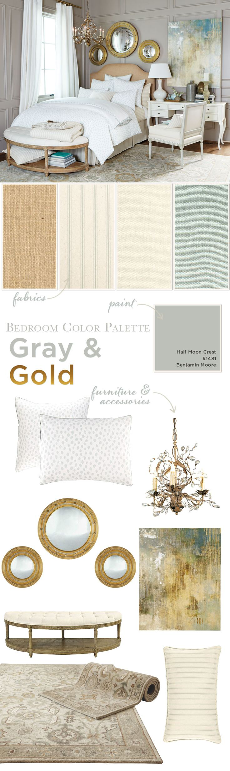 This cool tones of this bedroom are warmed up by accents of gold and creamy whites. With just a few accents of spa, this...