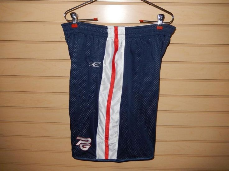 Men 39 s reebok reversible basketball shorts white blue red for Shirts and skins basketball