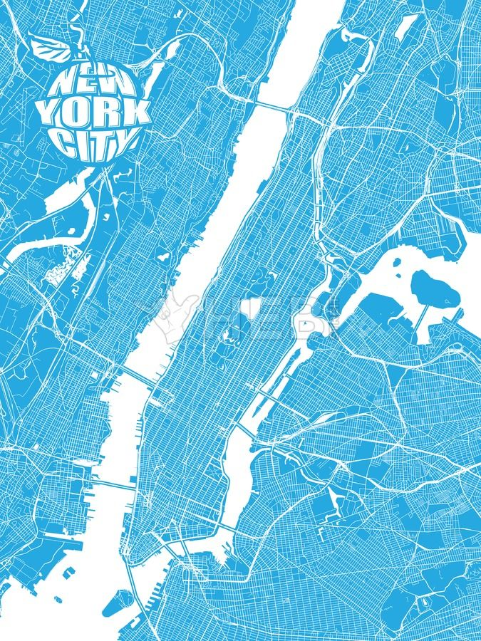 Blue Map Of New York City With Apple Logo Hebstreits Sketches New York City Map Blue Map Map Of New York
