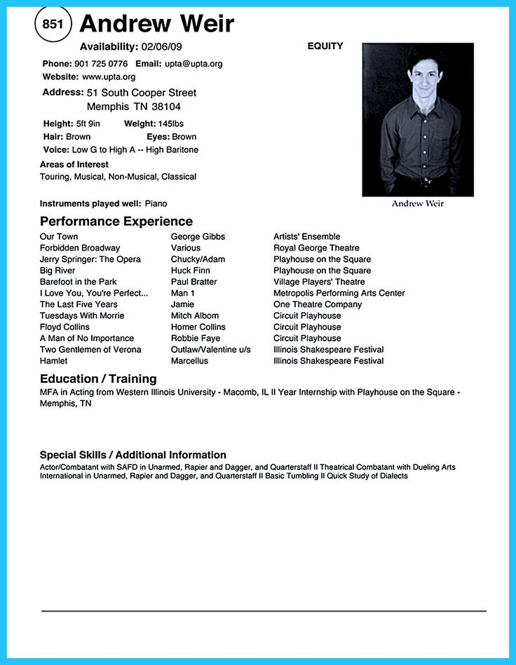Actors Resume Template Sample Acting Resume No Experience Apps