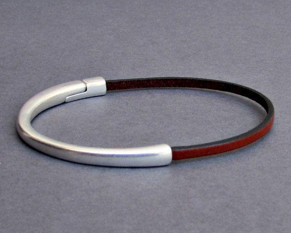 Dainty Bracelet Mens Leather Bracelet Minimalist by GUSFREE