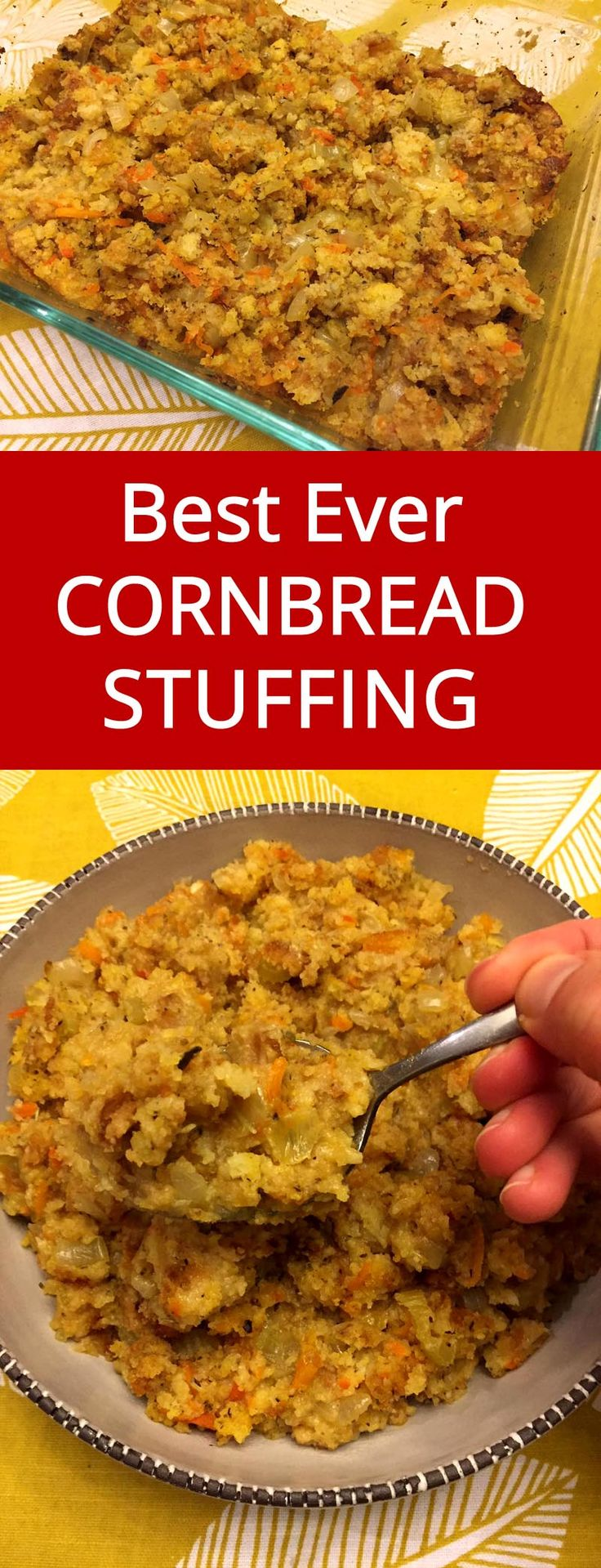 Easy Cornbread Stuffing - Best Ever!  This is the only stuffing recipe I'll ever need!   MelanieCooks.com
