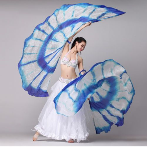 Belly-Dance-Isis-Wings-with-wooden-stick-Pure-Silk-1-Pair-Dye-Color-Dance-Veil