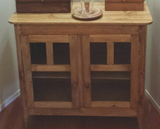 Recent arts & crafts style inspired pine low cabinet.