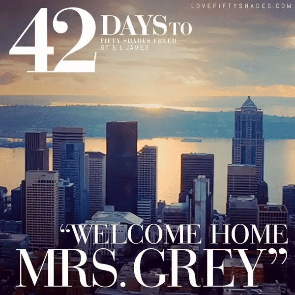 "42 DAYs to FREED ""Welcome home, Mrs. Grey."" He kisses me again and gives me the patented-Christian-Grey-full-gigawatt smile, his eyes dancing with joy. ""Welcome home, Mr. Grey."" I beam, my heart answering his call, brimming with my own joy. Fifty Shades Freed by E L James #DakotaJohnson #JamieDornan"