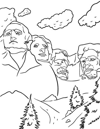 patriotic coloring pages mount rushmore - photo#3