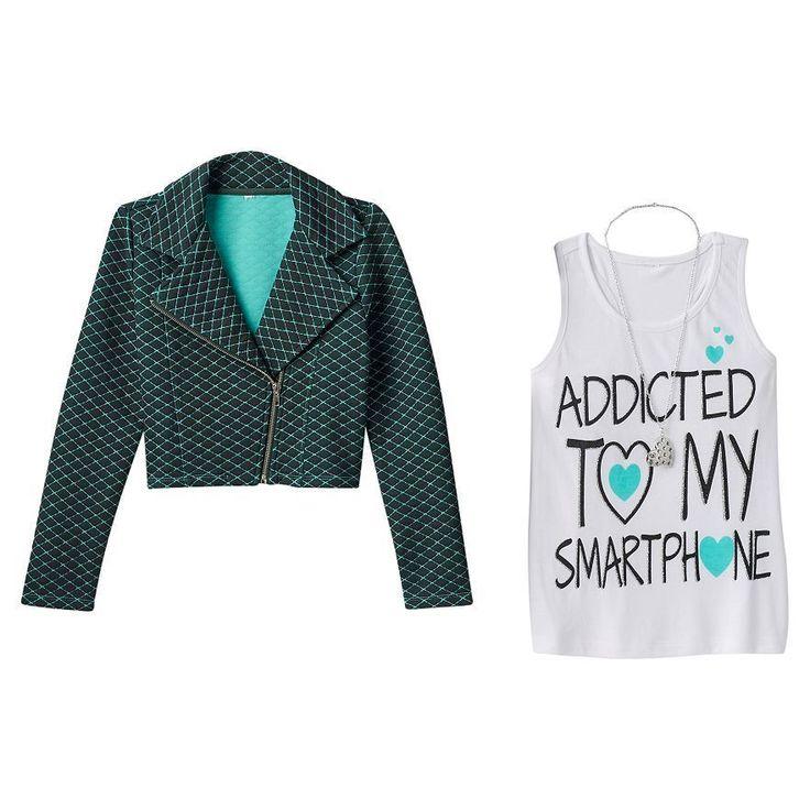 Moto Jacket and Graphic Print Tank Top Knitworks Girls Plus Size LPlus (14 1/2) #Knitworks #MotoJacketTankTop #Everyday