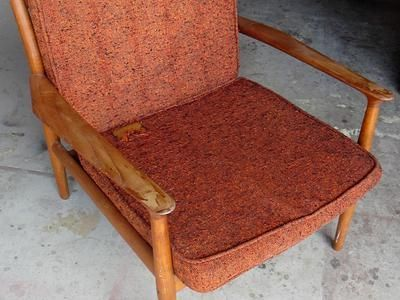 How to Refinish a Vintage Midcentury Modern Chair : Most midcentury pieces are made of solid teak, rosewood or walnut. You may find veneers in these species on tabletops and other flat surfaces, but that doesn't mean it's not good.
