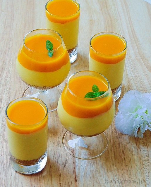 Eggless no-bake mango cheesecake recipe, an easy no-bake dessert with mangoes, cream cheese, and cream. Quick and easy step by step recipe.