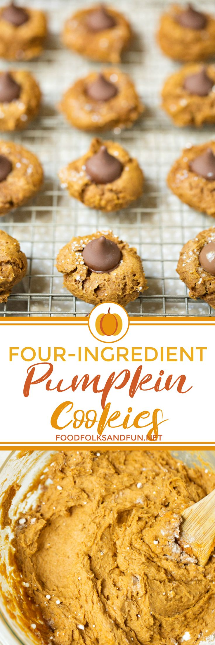 Four ingredients are all you need to make these Pumpkin Blossom Cookies! Grab a spice cake mix, can of pumpkin, Hershey's Kisses, and decorating sugar and let's get started!